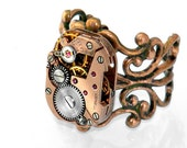 Steampunk Ring, Red Brass Vintage Watch Mechanism, Adjustable Copper Filigree Ring