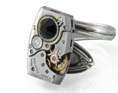 Man's Steampunk Ring, Jet Crystal & Vintage Elgin Watch Movement, Spoon Ring Band - ring size 12
