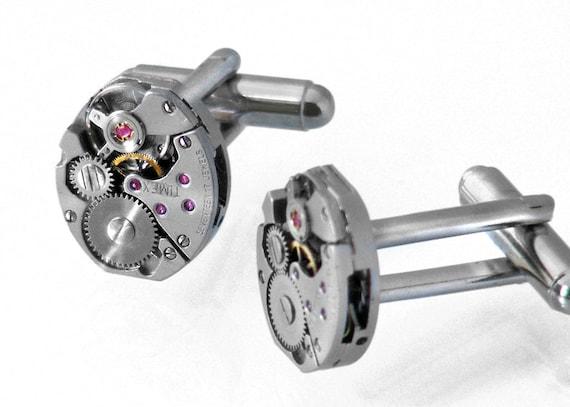 Steampunk Cufflinks, Vintage Timex Watch Mechanisms, Industrial Style Cuff Links