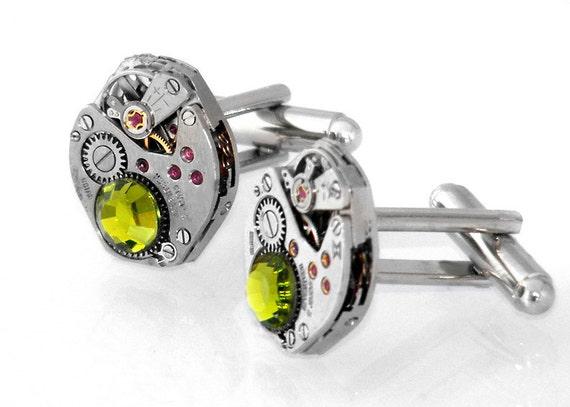 Steampunk Cufflinks - Olivine Crystals & Vintage Watch Movement Industrial Style Cuff Links
