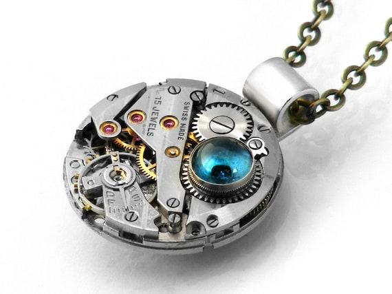Steampunk Necklace, London Blue Topaz & Vintage Watch Movement - Long Chain Necklace