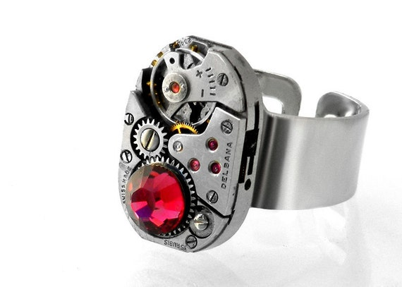 Steampunk Ring, Ruby Crystal & Vintage Watch Movement