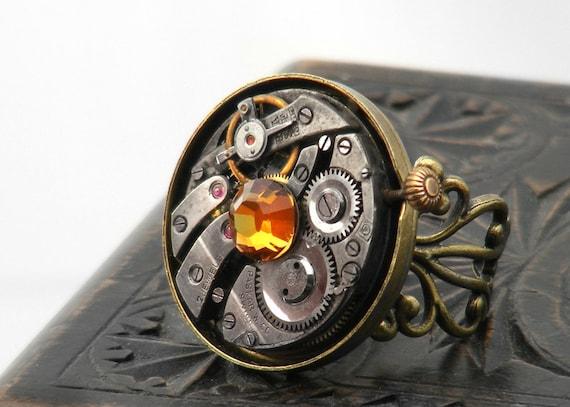 Steampunk Ring, Topaz Crystal & Vintage Watch Mechanism - Adjustable Ring