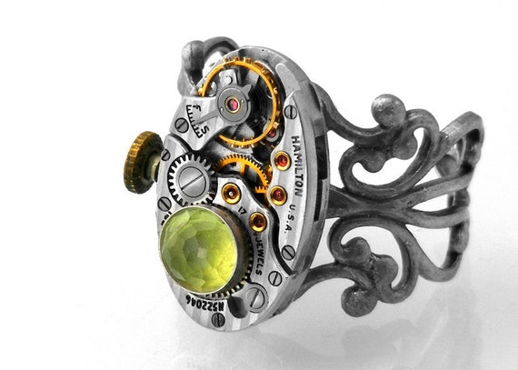 Peridot Steampunk Ring, Peridot Gemstone & Vintage Hamilton Watch Movement - Adjustable Ring