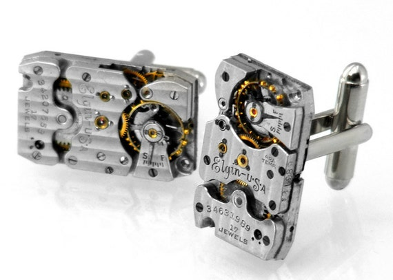 Steampunk Cuff Links, Vintage  'Pinstriped' Elgin Watch Movements - Torch Soldered