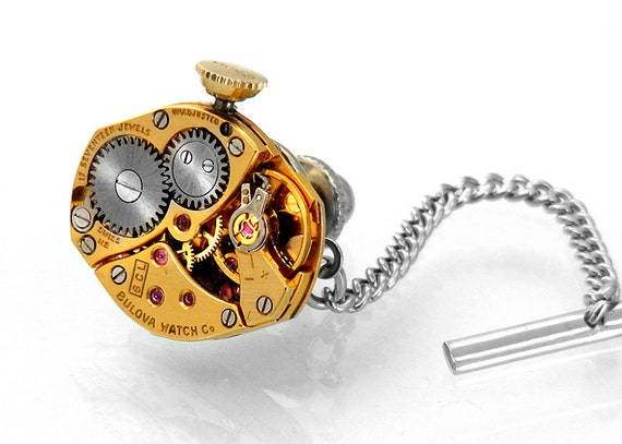Steampunk Tie Tack, Bulova Gold Vintage Watch Movement