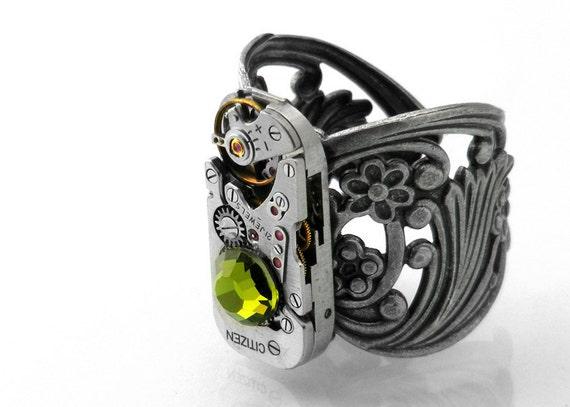 Steampunk Ring - Grassy Olivine Crystal & Vintage Watch Mechanism, Silver Filigree - Adjustable Ring