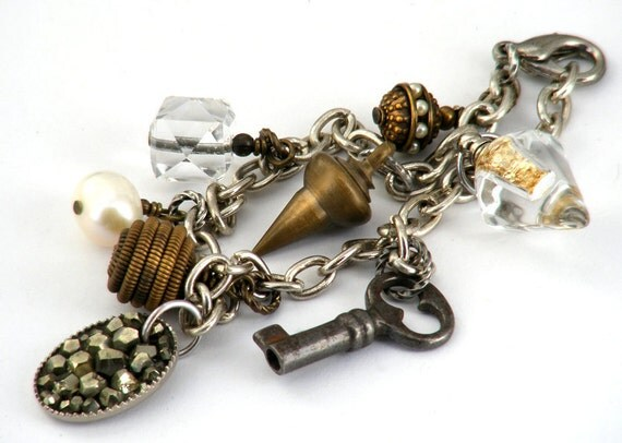Steampunk Charm Bracelet - Vintage Charms, Key & Vial of Gold