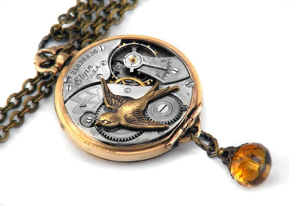 Steampunk Necklace, Swallow & Antique Elgin Pocket Watch - Long Chain Necklace