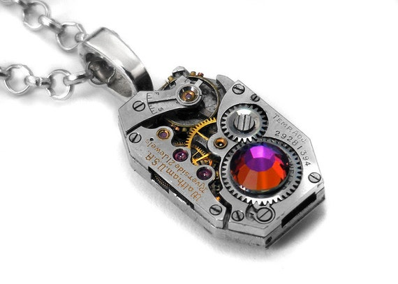 Steampunk Necklace, Volcano Crystal & Vintage Waltham Watch Movement - Long Chain Necklace