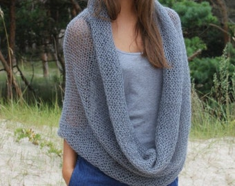 Knit Cowl / Infinity Scarf / Chunky pattern scarf / Grey / Light Mohair Infinity Scarf / women