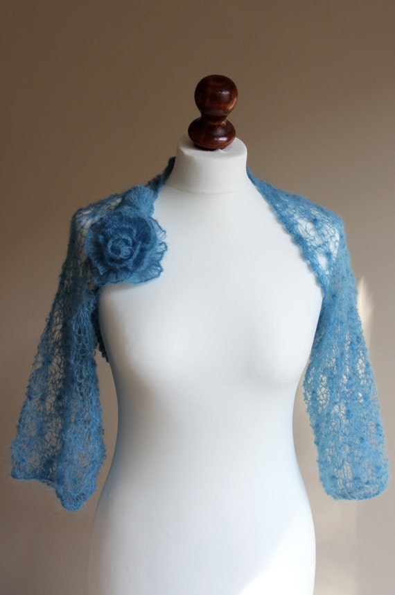 sea blue lace knitted shrug
