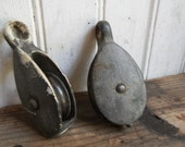 vintage METAL PULLEY - Set of 2