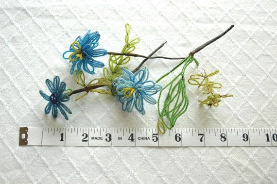 Vintage Glass Bead Flowers - Blue and Green