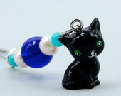 Black Cat Bookmark with Resin Charm and Glass Beads, Shepherds Hook Metal Bookmark with Free Shipping