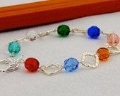 Mothers Day Gift, Birthstone Diamond Link Bracelet, Personalized Bracelet, Choose Up to 8 Birthstones