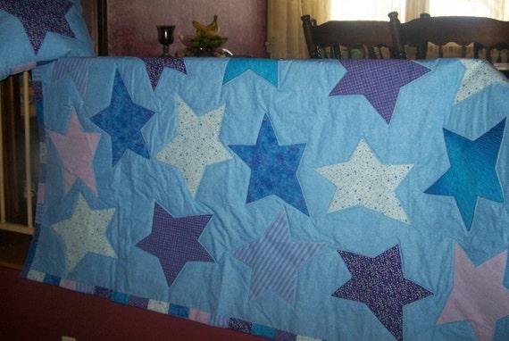 Crazy Star Quilt and Pillow set