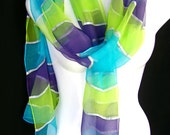 Hand Painted Silk Scarf Rainbow Turquoise Lime Green Indigo Silver Stripes Chiffon