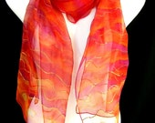 Silk Scarf Hand Painted Chiffon Red Gold Pink Hot Multicolor Waves Boho Chic Scarf