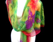 Hand Painted Silk Scarf Floral Multicolor Purple Orange Orchids Butterflies Grass Green Glitter Georgette Luxurious