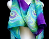 Hand Painted Silk Scarf Peacock Feathers Multicolor Amethyst Purple Turquoise Lime Green