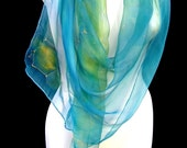 Hand Painted Silk Scarf Aqua Turquoise Golden Yellow Abstract Honeycomb Design Boho Chic Wrap