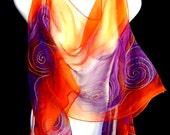 Hand Painted Silk Scarf Chiffon Tangerine Tango Purple Abstract Copper Swirls Design Boho Chic Scarf