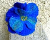 Wet Felted Flower Brooch Hair Pin Cobalt Blue Viola