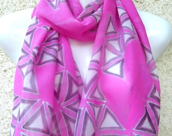Hand Painted Silk Scarf Abstract Pink Triangles Long Georgette