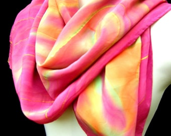 Hand Painted Silk Scarf Floral Abstract Multicolor Firework