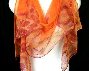 Silk Scarf, Hand Painted Silk Scarf, Orange Apricot Peachy Copper Twigs, Silk Chiffon Scarf CUSTOM ORDER, Handmade By Silkshop