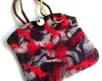 Felted Bag Wet Felt Gray Red White Small Purse Short Handles
