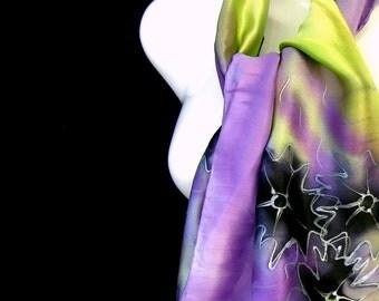 Hand Painted Silk Scarf, Lime Green Lavender Black Silk Scarf, Floral Scarf, Multicolor Satin Pastel Scarflette