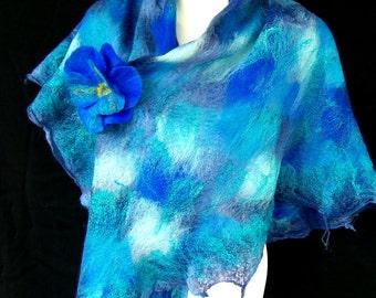 Felted Scarf Triangle Cobalt Blue Merino Wool Silk Boho Style
