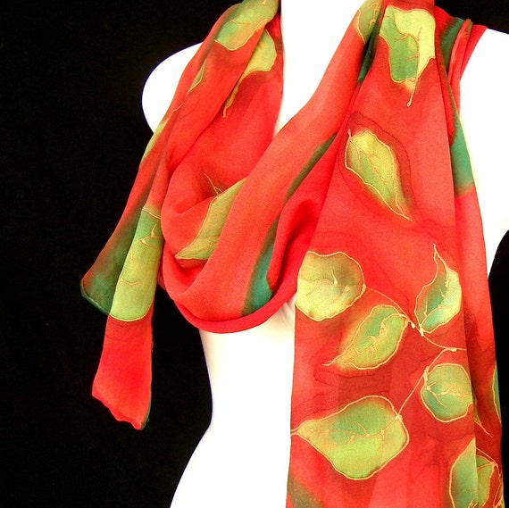 Silk Scarf Hand Painted Leaves Lime Green Red Georgette Long Shawl