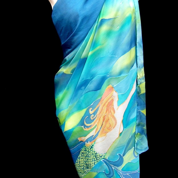 """CUSTOM ORDER Silk Sarong Hand Painted Theme By Your Choise 72"""" x 48"""" Bathing Suit Cover Pareo Beach Wear Personalized"""