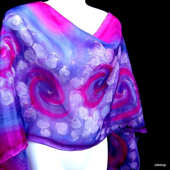Silk Scarf Hand Painted Pink Purple Dancing Swirls Fun Whimsical Art Deco Inspired