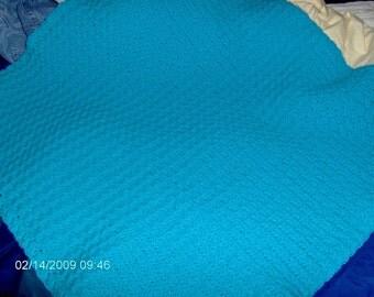 turquoise crocheted baby blanket