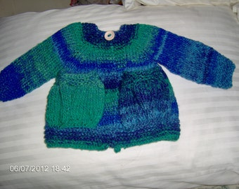 multi blue cardigan sweater for 16 inch waldorf doll