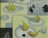 "Art Acrylic And Gouache Still Life Painting Pear Quebec Canada   "" Fiesta """