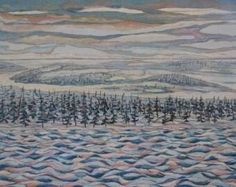 "Art & Collectibles Original Oil Painting Minimalist Landscape Winter Snow White Cold Waves Quebec Canada Audet "" Northen Space "" 17"" x 26"""