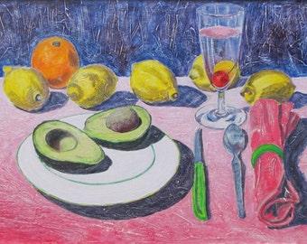 "Art Original Acrylic Painting Still Life Meal Fruit Lemon Orange Avocado Table Quebec Canada By Jacques Audet "" Around A Cherry "" 14"" x 20"""