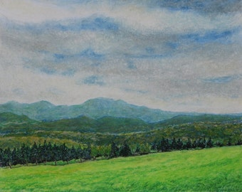 "Art Original Oil Pastel Drawing Landscape Appalachian Eastern Townships Blue Mountain Audet ""Like A Light Fog, Val Racine, Quebec, Canada """