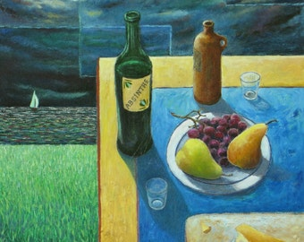"""Art & Collectibles Original Oil Painting Still Life Perspective Surreal Wine Food Fruit Table Sail Boat Quebec Canada By Audet """"Full Night """""""