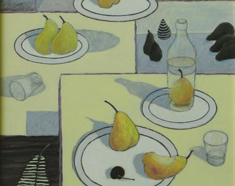 """Art & Collectibles Acrylic And Gouache Still Life Painting Pear Fruit Food Plate Yellow Black White Quebec Canada By Jacques Audet """" Fiesta"""
