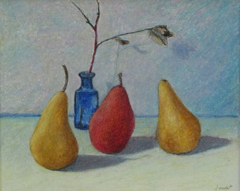 """Art & Collectibles Original Oil Pastel Drawing Still Life Minimalist Pear Fruit Quebec Canada By Jacques Audet """" Totally Pear """" 10"""" x 12"""""""