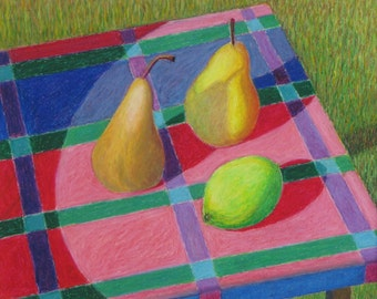 """Art & Collectibles Original Oil Pastel Still Life Drawing Pear Fruit Picnic Shadow Food Quebec Canada By Jacques Audet """" The Small Table """""""