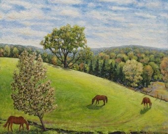 """Art Large Landscape Oil Painting Horse Farm Life Appalachian Eastern Townships """"Peace On Earth, Buckland road, Way's Mill, Quebec, Canada """""""