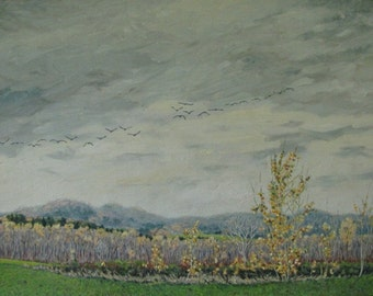 "Art Original Oil Painting Grey Clouds Geese Sky Fall Autumn Landscape Appalachian Eastern Townships Quebec Canada By Audet "" Light Rythms """