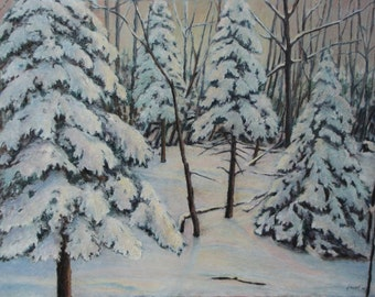 "Art Drawing Oil Pastel Landscape Quebec Canada Snow White Winter Forest Morning ""Waking Up With The Sun, Drouin rd, Compton, Quebec,Canada """